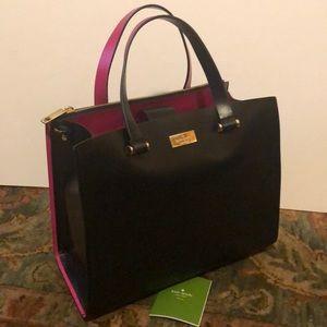 Kate Spade satchel, black w/ bright pink trim